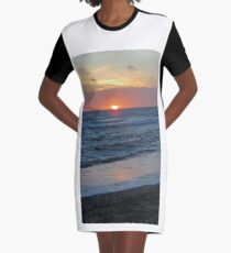 Sunset lights up the sea Graphic T-Shirt Dress