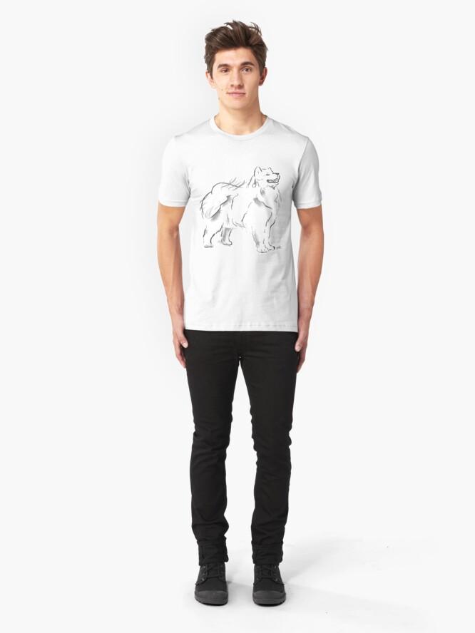 Alternate view of Samoyed Drawing Slim Fit T-Shirt