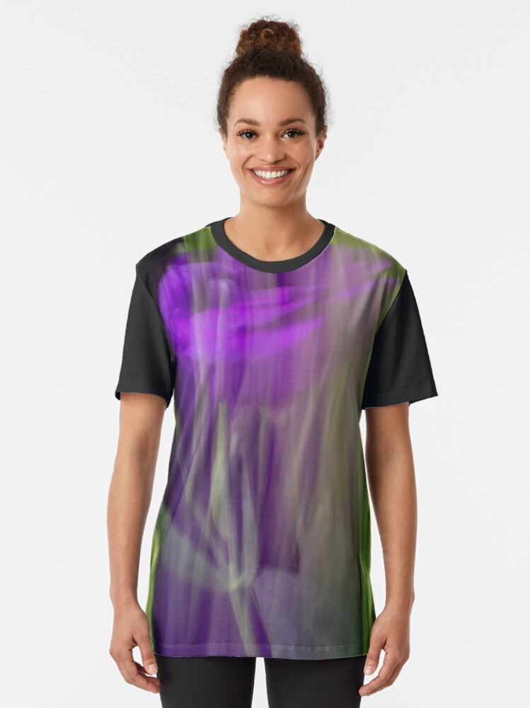 Alternate view of Fleur Blur-Abstract Purple Flower Photo Graphic T-Shirt