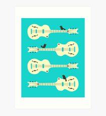 Birds On Guitar Strings Art Print