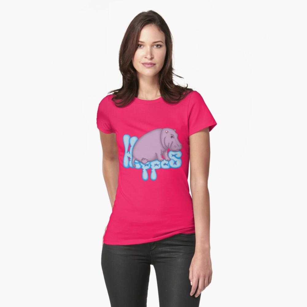 Squashy Hippo - Aqua Fitted T-Shirt
