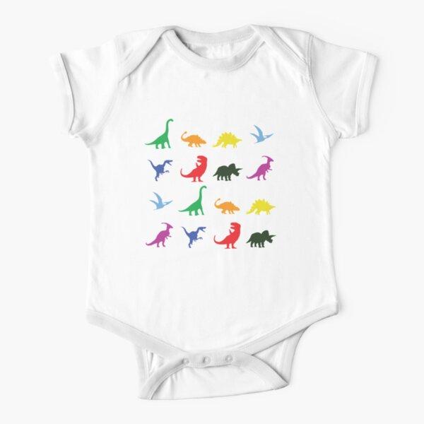 Fun Dinosaur Pattern (Black Background) Short Sleeve Baby One-Piece
