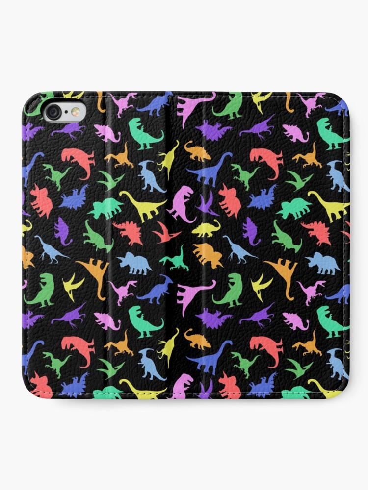 Alternate view of Fun Dinosaur Pattern (Black Background) iPhone Wallet