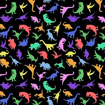 Fun Dinosaur Pattern (Black Background) by jezkemp