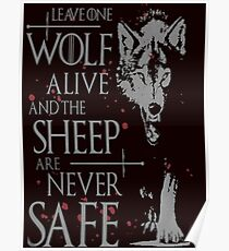 Thrones wolf t-shirt best quote Poster