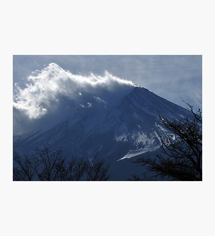 Wind blowing snow on Mount Fuji Photographic Print