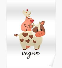 Happy Cow, Pig, and Chicken - Vegan Poster