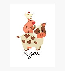 Happy Cow, Pig, and Chicken - Vegan Photographic Print