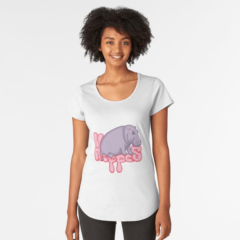T-shirt premium échancré «Squashy Hippo - Cerise»