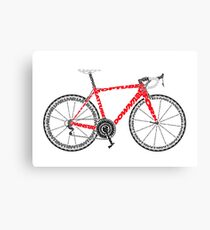 A red typographical representation of a Road Bike Canvas Print
