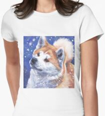 Japanese Akita Fine Art Painting Women's Fitted T-Shirt