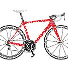 A red typographical representation of a Road Bike by jarodface