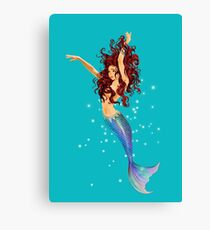 Mermaid - Transparent Background, Auburn Hair, Blue Eyes Canvas Print