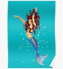 Mermaid - Transparent Background, Auburn Hair, Blue Eyes Poster