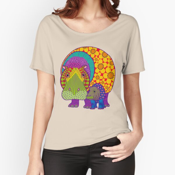 Hippiepotamus and Baba T-shirt coupe relax