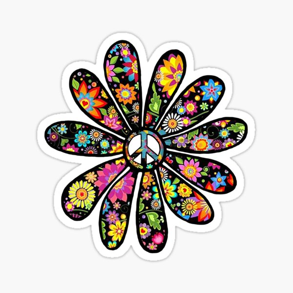 Flower Power and Peace Sticker