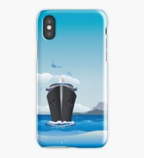 Big airplane in the sky and cruise liner in the sea iPhone Case/Skin