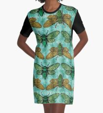 Cicada Invasion, Insects on Textured Background Graphic T-Shirt Dress