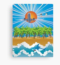 Airplane fly over tropical island Canvas Print