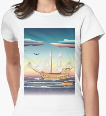 Old sailing ship on the open ocean at sunset Women's Fitted T-Shirt