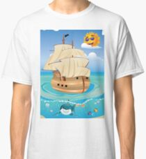 Wooden Ship in the Sea Classic T-Shirt