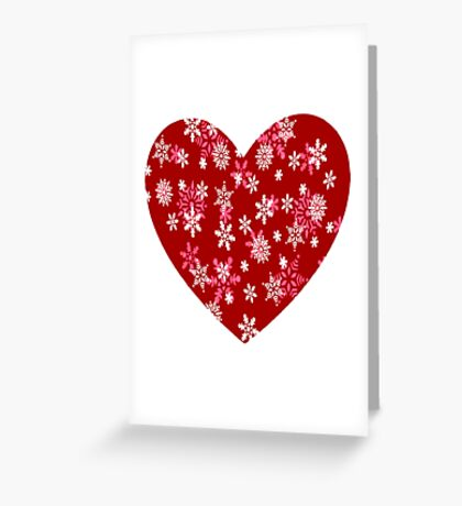 Red Heart Of Snowflakes Loving Winter and Snow  Greeting Card