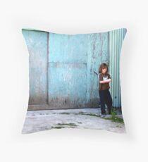 Boy Alone Throw Pillow
