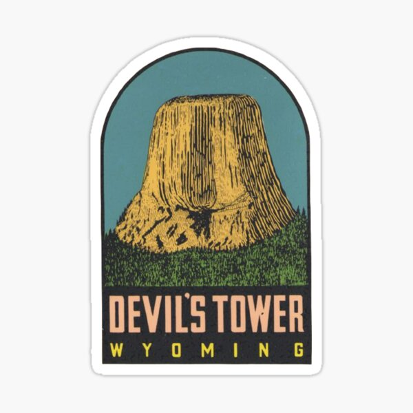 Devil's Tower National Monument Vintage Travel Decal - Wyoming USA Sticker