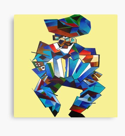 Accordion Player In Cubist Style Canvas Print