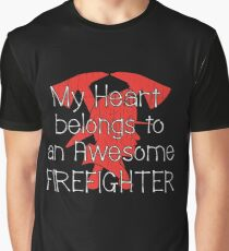 My Heart Belongs To An Awesome Firefighter Design Graphic T-Shirt