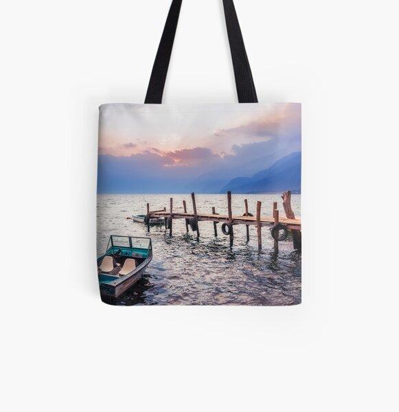 Gorgeous sunset on Lake Atitlan, Guatemala All Over Print Tote Bag
