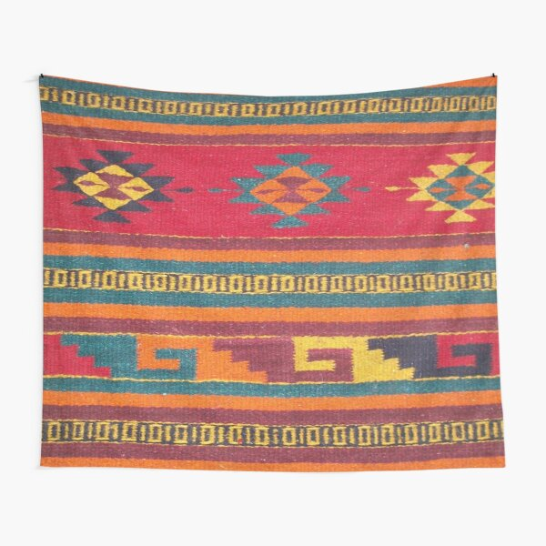 Colorful red Aztec Pattern Tapestry