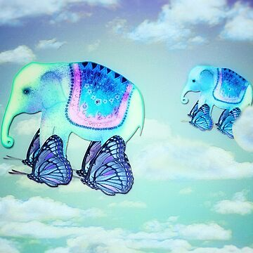Elephants aloft on butterfly wings by trishie