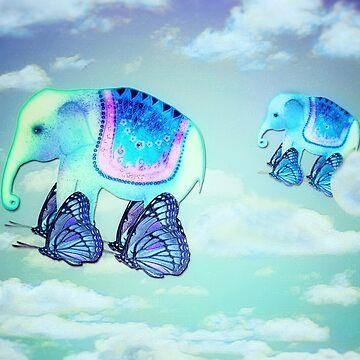 Elephants aloft on butterfly wings by trishie