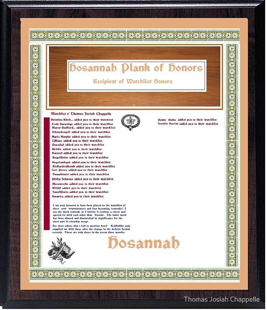 Watchlist of  Recipiency for Thomas Josiah Chappelle by Thomas Josiah Chappelle