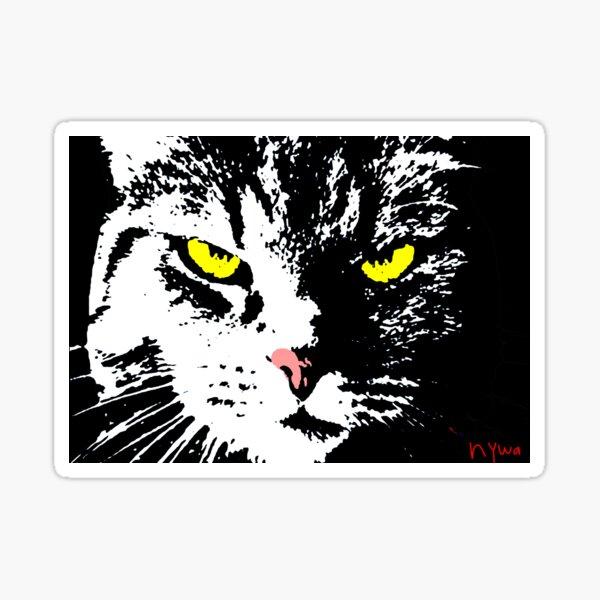 VERGANGENE CAT-POP-KUNST - SCHWARZES WEISSES GELB Sticker