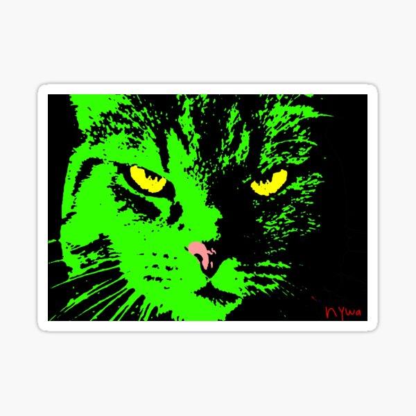 ANGRY CAT POP ART - SCHWARZES WEISSES GELB TRASPARENT Sticker