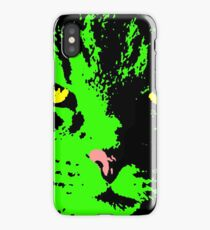ANGRY CAT POP ART - GREEN YELLOW BLACK RED iPhone Case/Skin