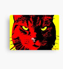 ANGRY CAT POP ART - RED YELLOW BLACK Canvas Print