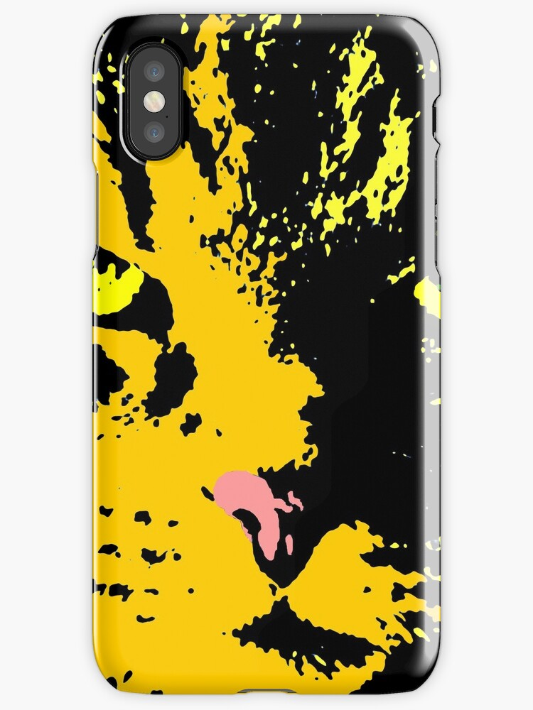 ANGRY CAT POP ART - ORANGE YELLOW BLACK TRASPARENT by NYWA-ART