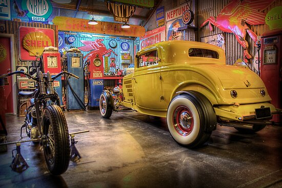 Quot Hot Rod Garage 3 Quot Poster By Stuartrow Redbubble