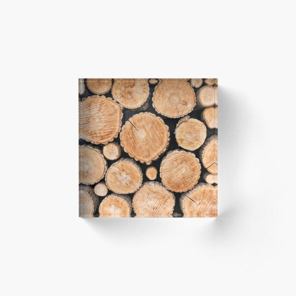Wood logs background Acrylic Block