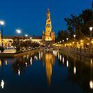 Andalusian Night Magic - Soft Reflections at Plaza de Espana in Seville Spain by Georgia Mizuleva