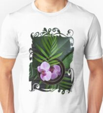 Zen Style Pink Orchid And Palm Leaf T-Shirt