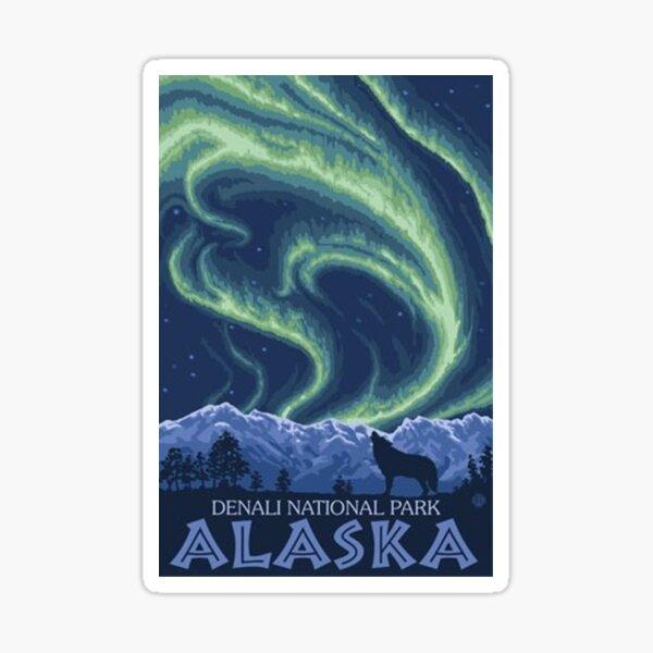Denali National Park Northern Lights Vintage Travel Decal Sticker