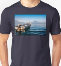 Small boat on the blue waters of Lake Atitlan T-Shirt