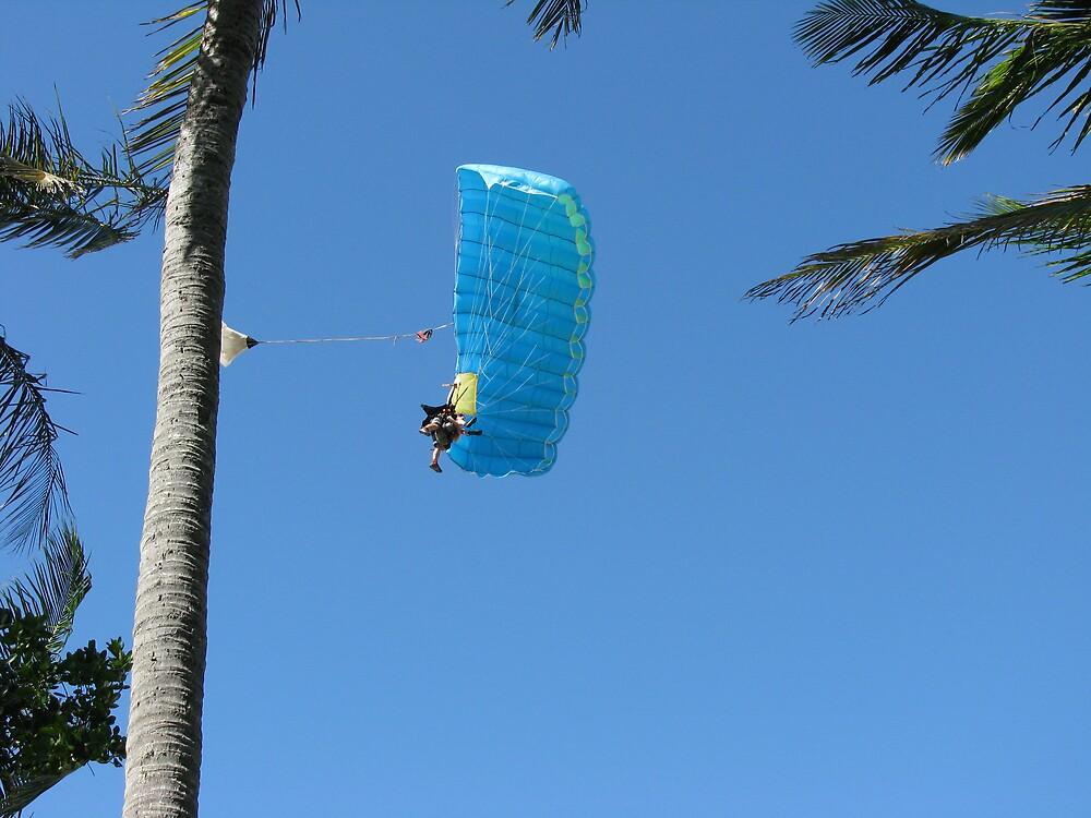 Sky Dive over Mission Beach by Sue Wickes