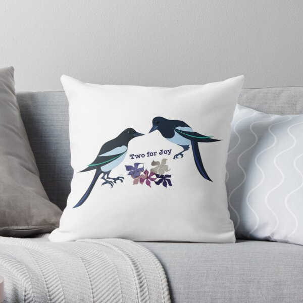 Two magpies Throw Pillow