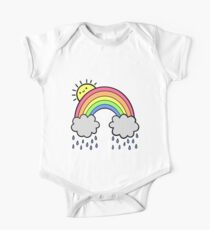Rainbow Above the Clouds Short Sleeve Baby One-Piece