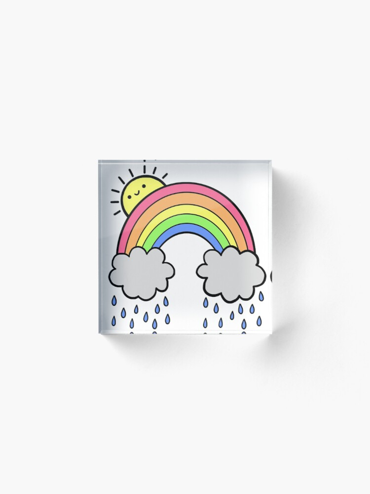 Alternate view of Rainbow Above the Clouds Acrylic Block